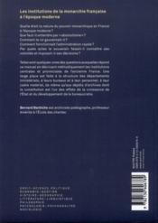 Les institutions de la monarchie francaise à l'époque moderne - 4ème de couverture - Format classique