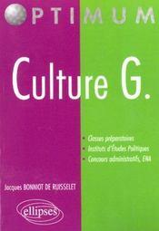 Culture G. Classes Preparatoires Instituts D'Etudes Politiques Concours Administratifs Ena - Intérieur - Format classique