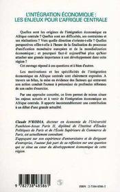L'intégration économique ; les enjeux pour l'Afrique centrale - 4ème de couverture - Format classique