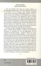 Husserl et les fondements de la phénoménologie constructive - 4ème de couverture - Format classique