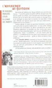 L'Adolescence Au Quotidien ; De Quelques Principes Utiles A L'Usage Des Parents - 4ème de couverture - Format classique