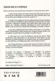 Simone Weil et le poétique - 4ème de couverture - Format classique