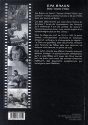 Eva braun ; dans l'intimité d'hitler - 4ème de couverture - Format classique