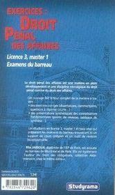 Exercices : Droit Penal Des Affaires - 4ème de couverture - Format classique