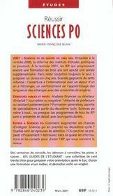Reussir Sciences Po ; Edition 2001 - 4ème de couverture - Format classique