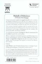 Maladie D'Alzheimer - 3e Edition - Nouvelle Presentation - 4ème de couverture - Format classique