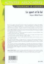 Le Sport Et La Loi - 2e Ed. - 4ème de couverture - Format classique
