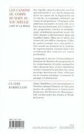 Les canons du corps humain dans l'art francais du xixe siecle - 4ème de couverture - Format classique