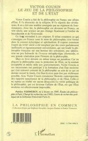 Victor Cousin, Le Jeu De La Philosophie Et De L'Etat - 4ème de couverture - Format classique