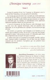 Chronique Touareg 1680/1701 Un Guerrier Voile De Rouge - 4ème de couverture - Format classique