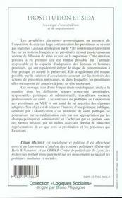Prostitution Et Sida ; Sociologie D'Une Epidemie Et De Sa Prevention - 4ème de couverture - Format classique
