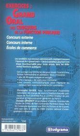 Exercices : Grand Oral Des Concours De La Fonction Publique - 4ème de couverture - Format classique