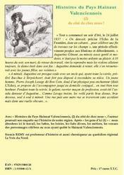 Histoires du pays hainaut valenciennois - 4ème de couverture - Format classique