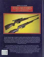Fusils Militaires Et Carabines - 4ème de couverture - Format classique