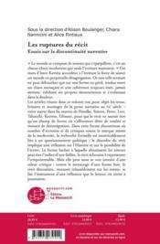 Les ruptures du récit ; essais sur la discontinuité narrative - 4ème de couverture - Format classique