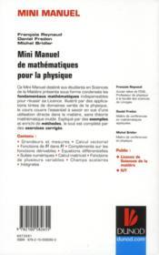 Mini Manuel ; De Mathématiques Pour La Physique ; Cours Et Exercices Corrigés - 4ème de couverture - Format classique