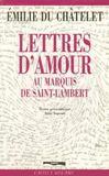 Lettres au marquis de st lambert