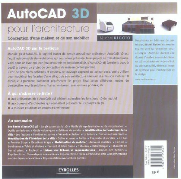 livre autocad 3d pour l 39 architecture conception d 39 une. Black Bedroom Furniture Sets. Home Design Ideas