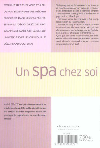 livre un spa chez soi anne benoit acheter occasion 2004. Black Bedroom Furniture Sets. Home Design Ideas