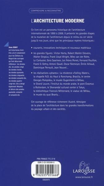 Livre l 39 architecture moderne anne bony for L architecture moderne