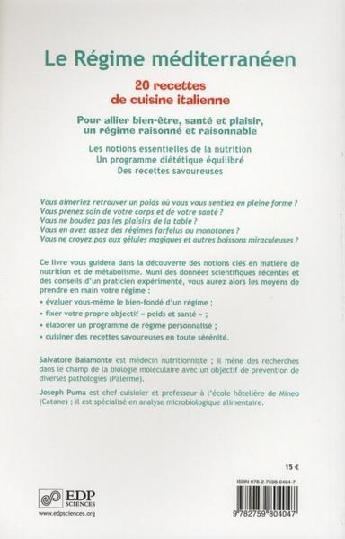 livre le regime mediterraneen 20 recettes de cuisine italienne baiamonte salvatore dr