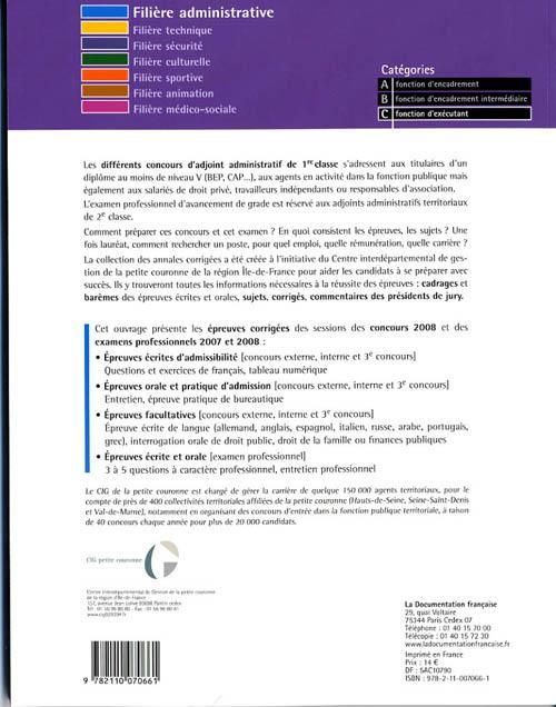 Livre adjoint administratif de 1 re classe cat gorie c - Grille indiciaire adjoint administratif ere classe ...
