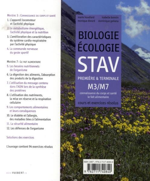 Biologie-écologie ; 1ère et terminale stav ; manuel complet ; module