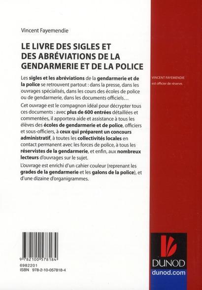livre livre des sigles et des abr viations de la gendarmerie et de la police de a z. Black Bedroom Furniture Sets. Home Design Ideas