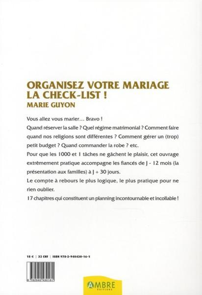 livre organisez votre mariage la check list marie guyon. Black Bedroom Furniture Sets. Home Design Ideas