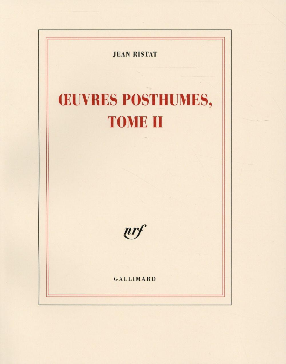Vente  Oeuvres posthumes t.2  - Jean Ristat