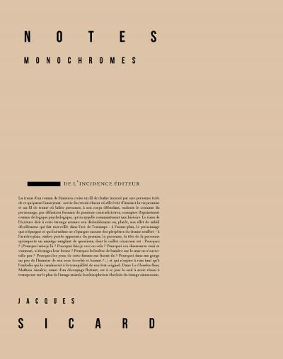 Vente Livre :                                    Notes monochromes                                      - Jacques Sicard