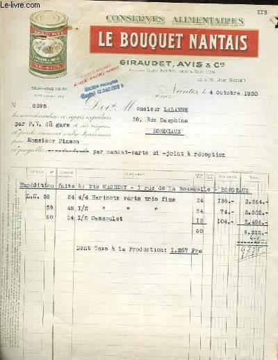 Livre facture ancienne illustree de la societe conserves for Le bouquet nantais