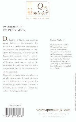 Psychologie de l'education (2e ed) qsj 3475 (2e édition)  - Gaston Mialaret