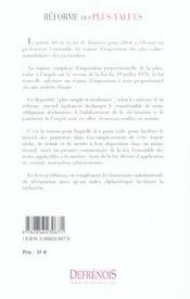 La Reforme Des Plus-Values - 4ème de couverture - Format classique