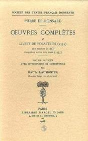 Tome V - Livret De Folastries: Les Amours, Cinquieme Livre Des Odes (1553) - Couverture - Format classique