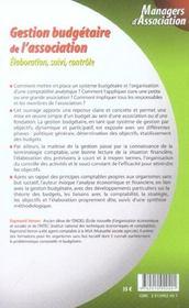 Gestion Budgetaire De L'Association. Elaboration, Suivi, Controle - 1ere Ed. - 4ème de couverture - Format classique