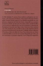 L'An 888. Le Royaume De Bourgogne. Une Puissance Europeenne Au Bord Du Leman. N8 - 4ème de couverture - Format classique