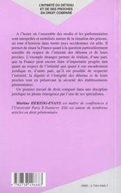 L'Intimite Du Detenu Et De Ses Proches E'N Droit Compare - 4ème de couverture - Format classique