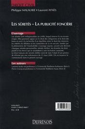 Les sûretés ; la publicité foncière (2e édition) - 4ème de couverture - Format classique