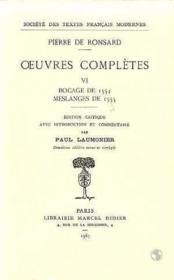 Tome Vi - Bocage De 1554, Meslanges De 1555 - Couverture - Format classique
