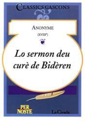 Lo Sermon Deu Cure De Bideren - Couverture - Format classique
