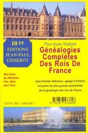 Genealogies completes des rois de france - 4ème de couverture - Format classique