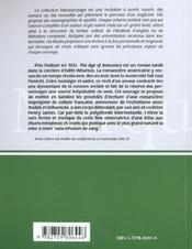Edith Wharton The Age Of Innocence L'Art Du Contretemps - 4ème de couverture - Format classique