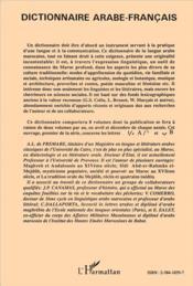 Dictionnaire arabe-français t.1 - 4ème de couverture - Format classique