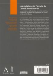 Les mutations de l'activité du comité des ministres - 4ème de couverture - Format classique