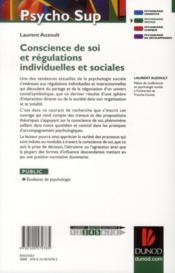 Conscience de soi et régulations individuelles et sociales - 4ème de couverture - Format classique