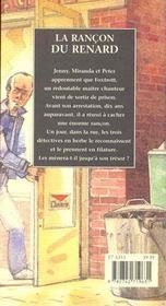 La Rancon Du Renard - 4ème de couverture - Format classique