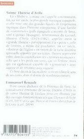 Sainte thérèse d'avila et l'expérience mystique - 4ème de couverture - Format classique