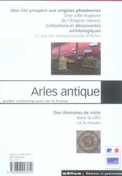 Arles antique - 4ème de couverture - Format classique