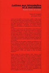 Lettres aux hirondelles et à moi-même - 4ème de couverture - Format classique